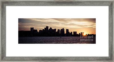 Boston Skyline Panorama Sunset Picture Framed Print by Paul Velgos