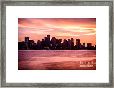 Boston Skyline Picture With Colorful Sunset Framed Print by Paul Velgos