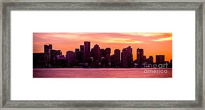 Boston Skyline Sunset Panoramic Photo Framed Print by Paul Velgos