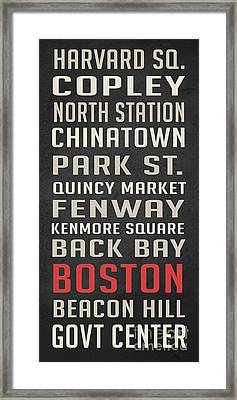 Boston Subway Stops Poster Framed Print by Edward Fielding