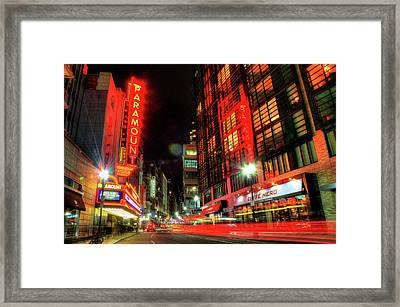 Boston Theatre District At Night Framed Print by Joann Vitali