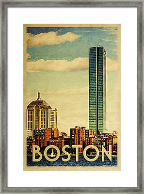 Boston Vintage Travel Poster Framed Print by Flo Karp