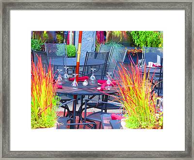 Boston Usa Ready To Serve Lunch On The Patio Real Beautiful Colors Navinjoshi Fineartamerica Pixels Framed Print by Navin Joshi