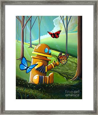 Bot And The Butterflies Framed Print by Cindy Thornton