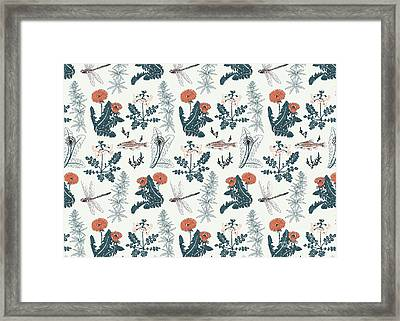 Botanical Kingfisher Framed Print by Jacqueline Colley