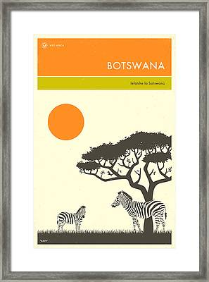 Botswana Travel Poster Framed Print by Jazzberry Blue