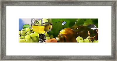 Bottle And Glasses Of Wine And Ripe Grapes  Framed Print by Lanjee Chee