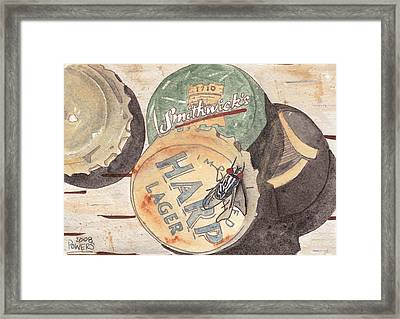Bottlecaps And Barfly Framed Print by Ken Powers