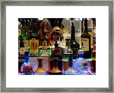 Bottles Of Trouble Framed Print by Joseph Baril