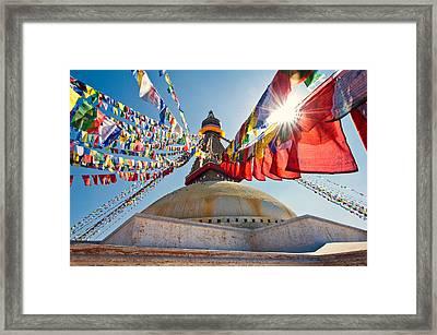 Boudhanath Stupa Kathmandu Framed Print by Ulrich Schade