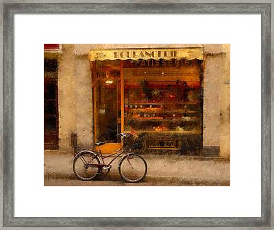 Boulangerie And Bike 2 Framed Print by Mick Burkey