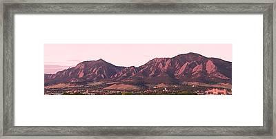 Boulder Colorado Flatirons 1st Light Panorama Framed Print by James BO  Insogna