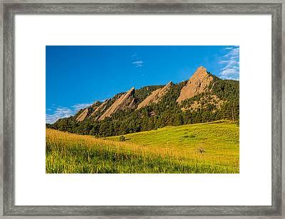 Boulder Colorado Flatirons Sunrise Golden Light Framed Print by James BO  Insogna