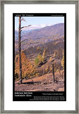Boulder County Wildfire 5 Miles West Of Downtown Boulder Framed Print by James BO  Insogna