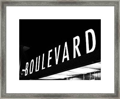 Boulevard Lights Up The Night Framed Print by Angie Rayfield