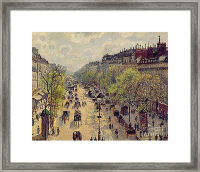 Boulevard Montmartre Framed Print by Camille Pissarro