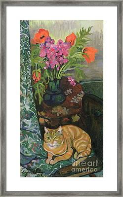 Bouquet And A Cat Framed Print by Marie Clementine Valadon