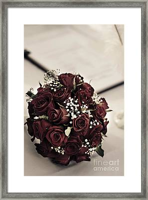 Bouquet And Wedding Register Framed Print by Jorgo Photography - Wall Art Gallery
