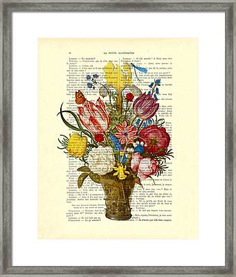 Bouquet Of Flowers On Dictionary Paper Framed Print by Madame Memento