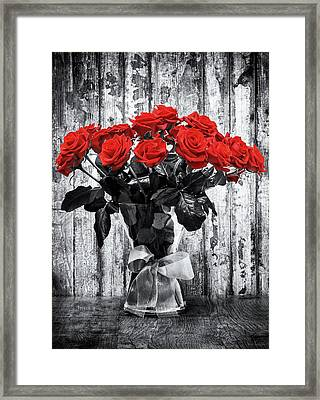 Bouquet Of Roses Framed Print by Wim Lanclus