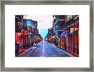 Bourbon Street At Dawn Framed Print by Bill Cannon