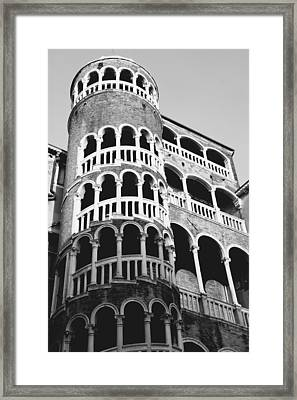 Bovolo Staircase In Venice Black And White Framed Print by Michael Henderson