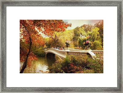 Bow Bridge Autumn Crossing Framed Print by Jessica Jenney