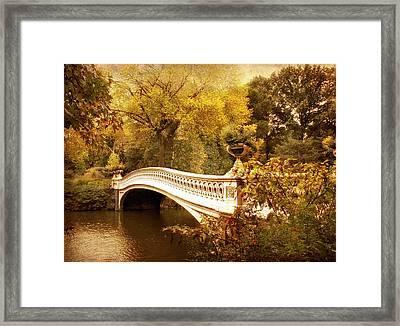 Bow Bridge Autumn Gold Framed Print by Jessica Jenney
