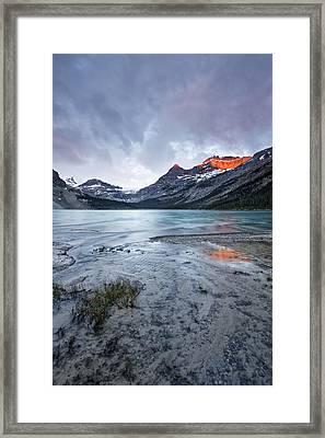Bow Lake At Sunrise Framed Print by Jon Glaser