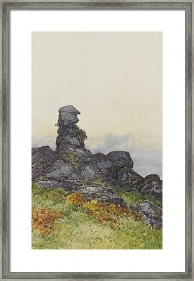 Bowermans Nose, Manaton Dartmoor Framed Print by Frederick John Widgery