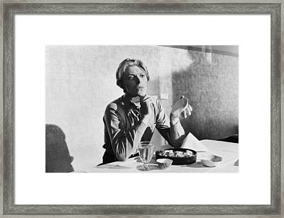 Bowie At Lunch  Framed Print by Terry O'Neill