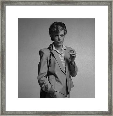 Bowie Yellow Suit  Framed Print by Terry O'Neill