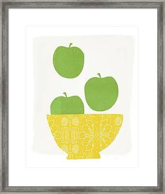 Bowl Of Green Apples- Art By Linda Woods Framed Print by Linda Woods