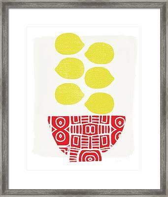 Bowl Of Lemons- Art By Linda Woods Framed Print by Linda Woods