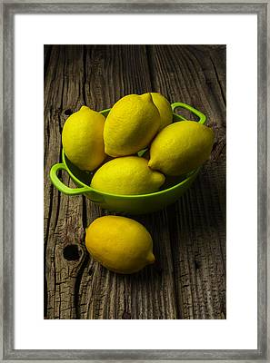 Bowl Of Lemons Framed Print by Garry Gay