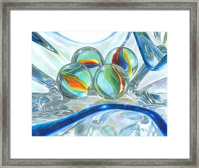 Bowl Of Marbles Framed Print by Carla Kurt