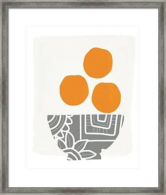 Bowl Of Oranges- Art By Linda Woods Framed Print by Linda Woods