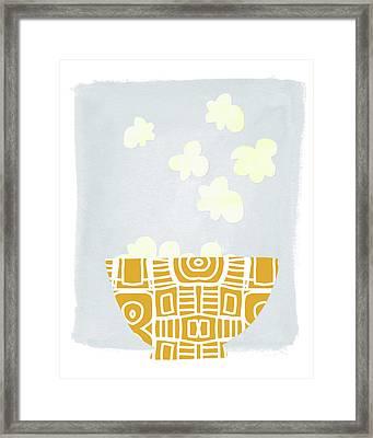 Bowl Of Popcorn- Art By Linda Woods Framed Print by Linda Woods