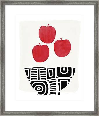 Bowl Of Red Apples- Art By Linda Woods Framed Print by Linda Woods