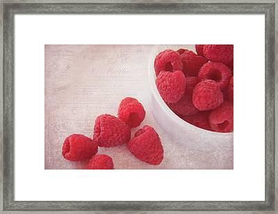 Bowl Of Red Raspberries Framed Print by Cindi Ressler