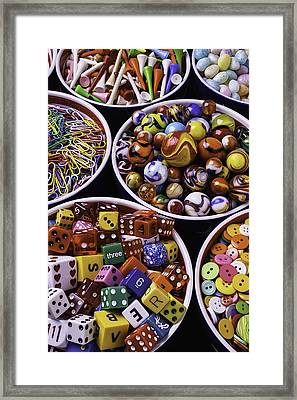 Bowls Full Of Marbles And Dice Framed Print by Garry Gay