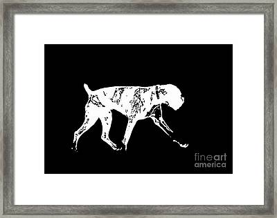 Boxer Dog Tee White Ink Framed Print by Edward Fielding