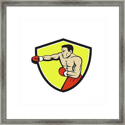 Boxer Jabbing Punching Crest Cartoon Framed Print by Aloysius Patrimonio