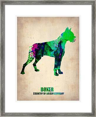 Boxer Poster Framed Print by Naxart Studio