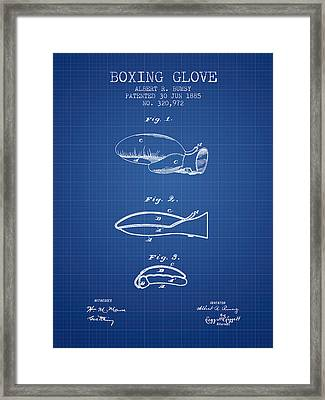 Boxing Glove Patent From 1885 - Blueprint Framed Print by Aged Pixel