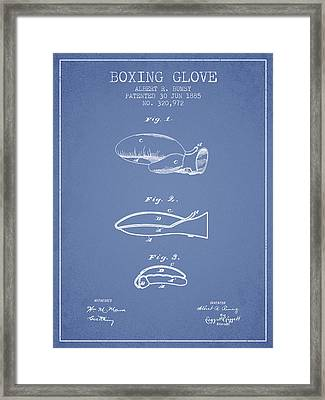 Boxing Glove Patent From 1885 - Light Blue Framed Print by Aged Pixel