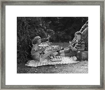 Boy And Girl On A Picnic, C.1940s Framed Print by H. Armstrong Roberts/ClassicStock