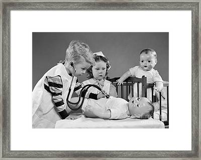 Boy And Girl Playing Doctor, C.1950s Framed Print by H. Armstrong Roberts/ClassicStock
