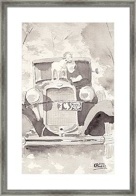Boy And His Dog On An Old Car Framed Print by Ken Powers