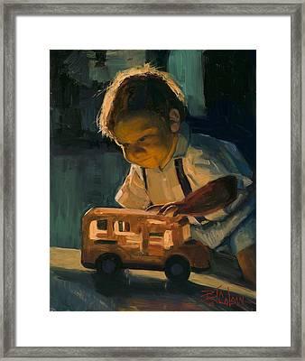 Boy And Their Toys Framed Print by Billie Colson